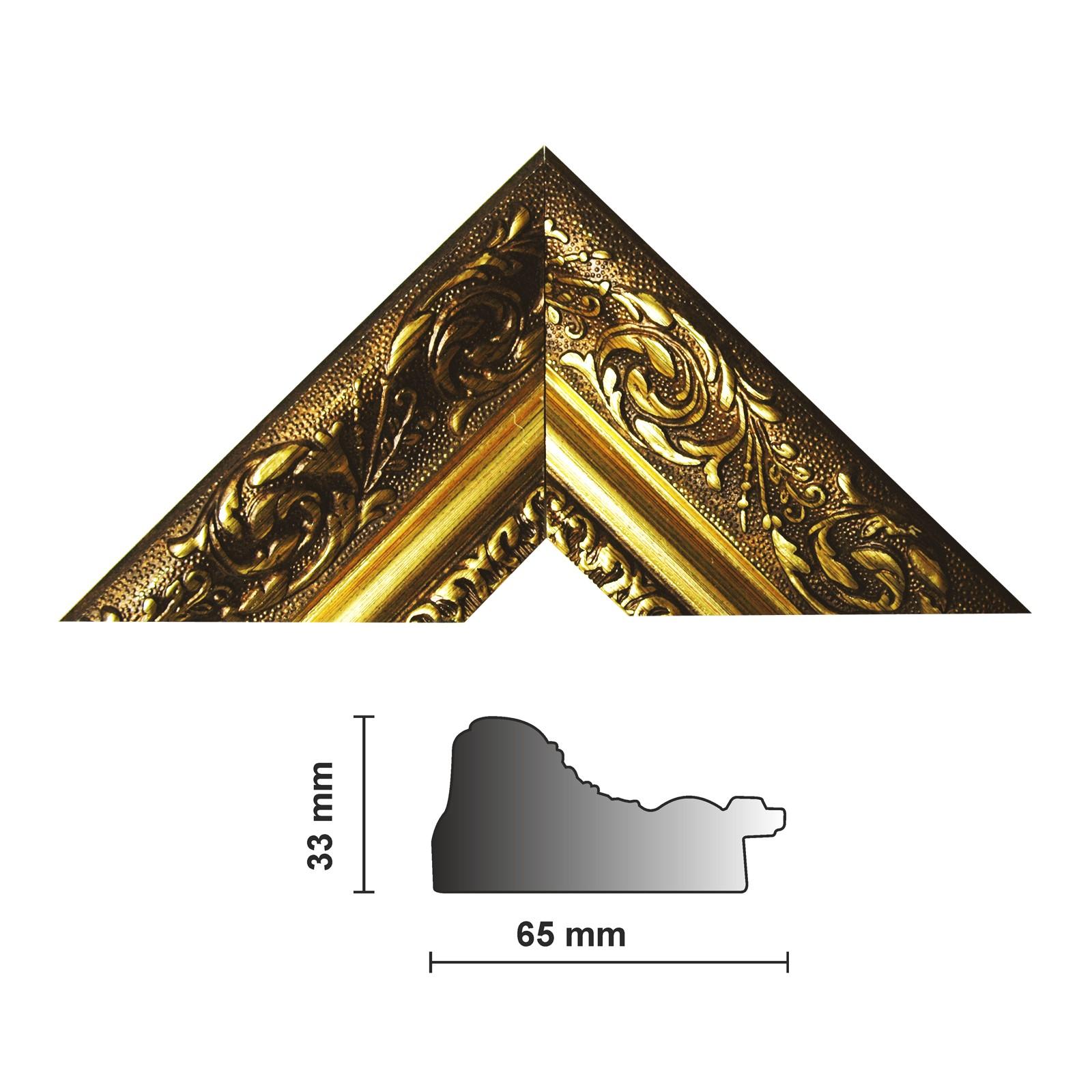 Bilderleiste 840 ORO, gold verziert 65mm breites Profil