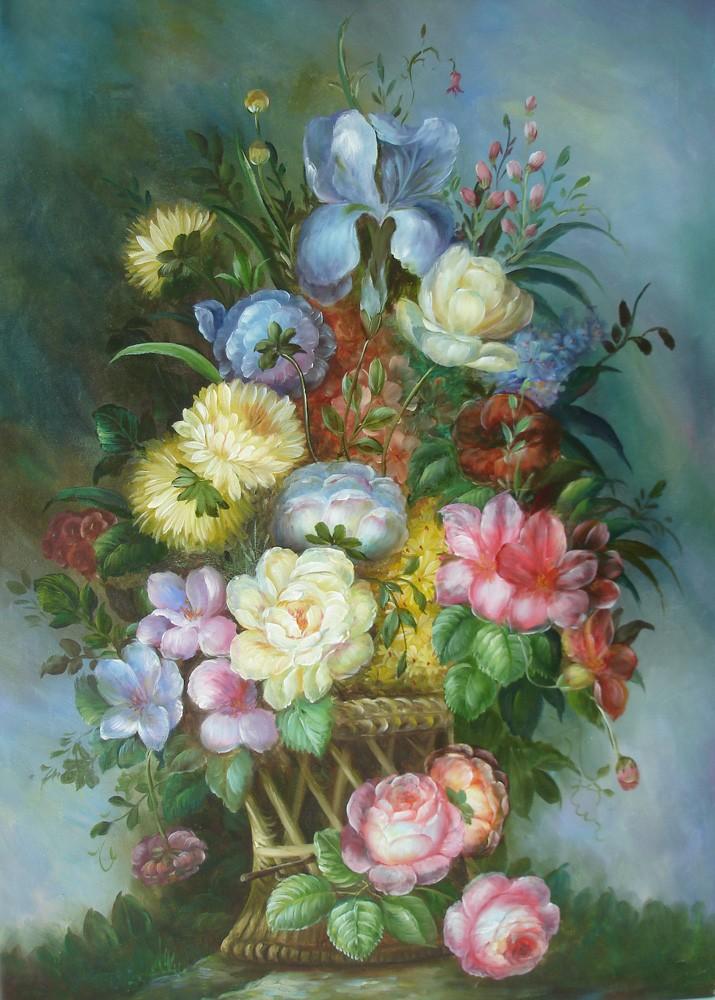 Ölgemälde auf Keilrahmen 60x90 cm Blumenkorb, handgemalt