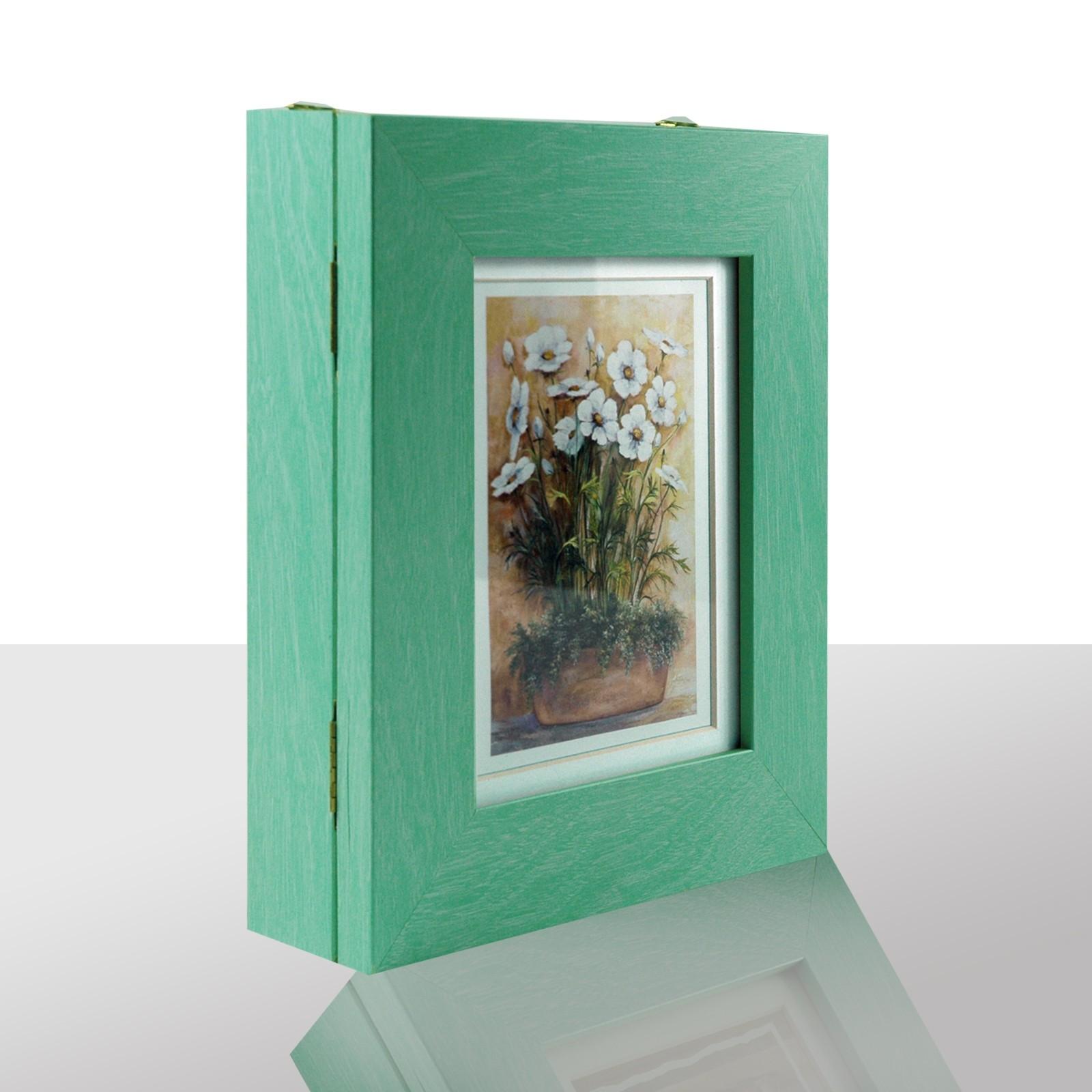 Schlüsselkasten grün,Schale m. weißen Blumen