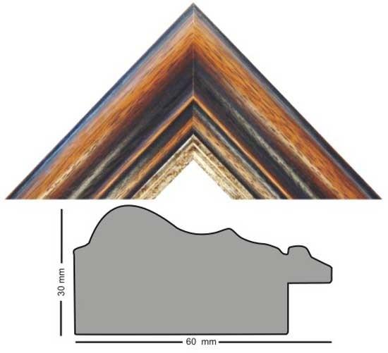 Bilderleiste Holz 3060/949 Eiche braun mit Goldkante