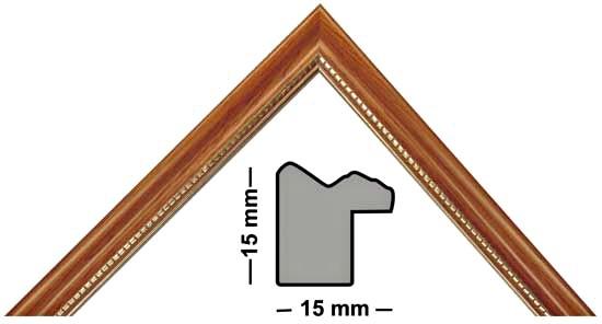 Bilderleiste Holz 280 TEAK teak mit Perlenkante