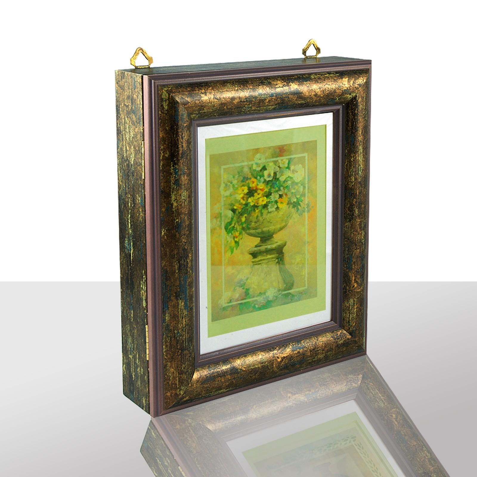 Schlüsselkasten braun exklusiv, goldene Vase