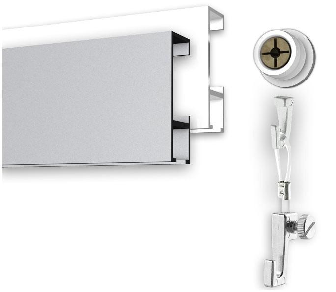 Bilderschienen Set 1 Meter mit Öse in weiß oder silber