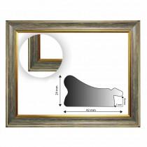 Barockrahmen grau mit Goldkannte 247 GRI