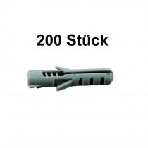 200 Stück FaKKT-Nylondübel 6x30 mm für Schrauben 4-5 mm