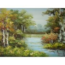 Ölgemälde auf Keilrahmen 60x90 cm Birken am Fluß,