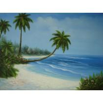 Ölgemälde auf Keilrahmen 50x70 cm Palmen am Meer