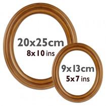 Ovalrahmen Kunststoff, braun, 9 x 13 cm u. 20 x 25 cm, Glas u. Rückwand