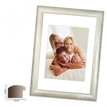 Holzrahmen PHÖNIX, silber matt 25mm breiter silberner Wechselrahmen