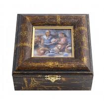 "Schmuckkästchen ""Picknick"", 16,5 x 15,5 cm, gold gemustert"