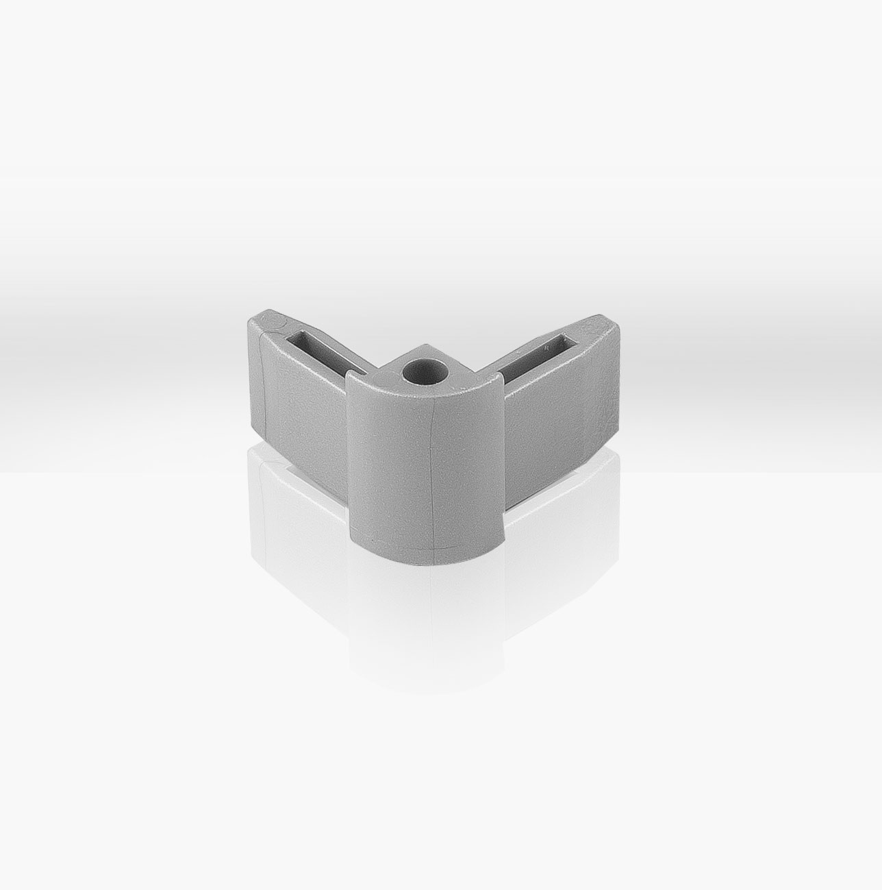 Corner connector for picture rails in white or gray