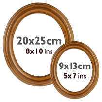 Oval frame plastic, brown, 9 x 13 cm and 20 x 25 cm, glass and back wall